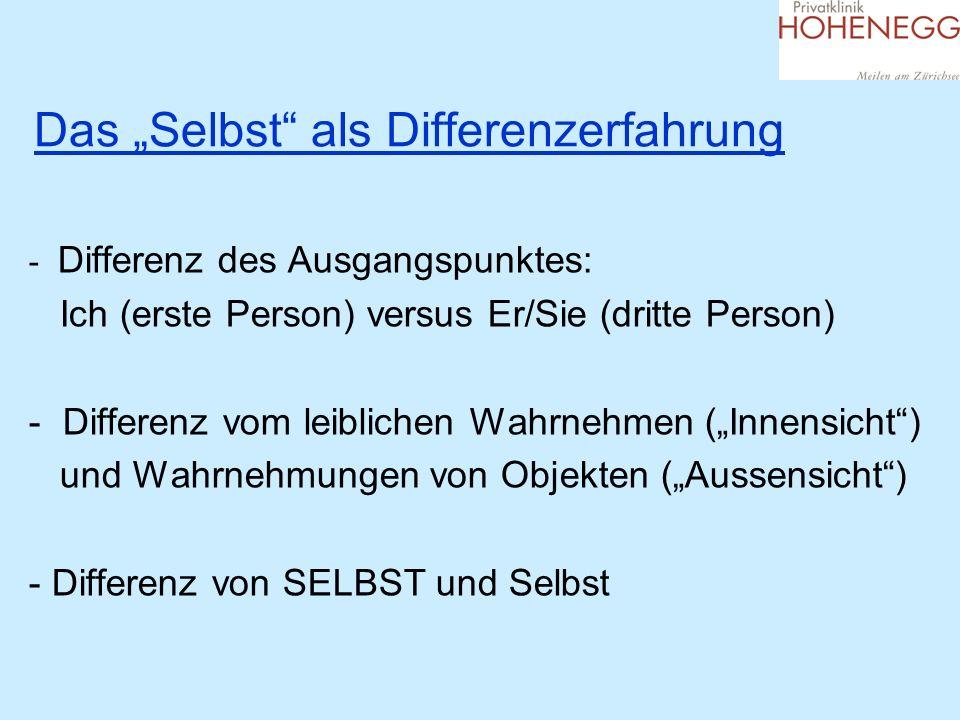 Das Selbst als Differenzerfahrung - Differenz des Ausgangspunktes: Ich (erste Person) versus Er/Sie (dritte Person) - Differenz vom leiblichen Wahrneh