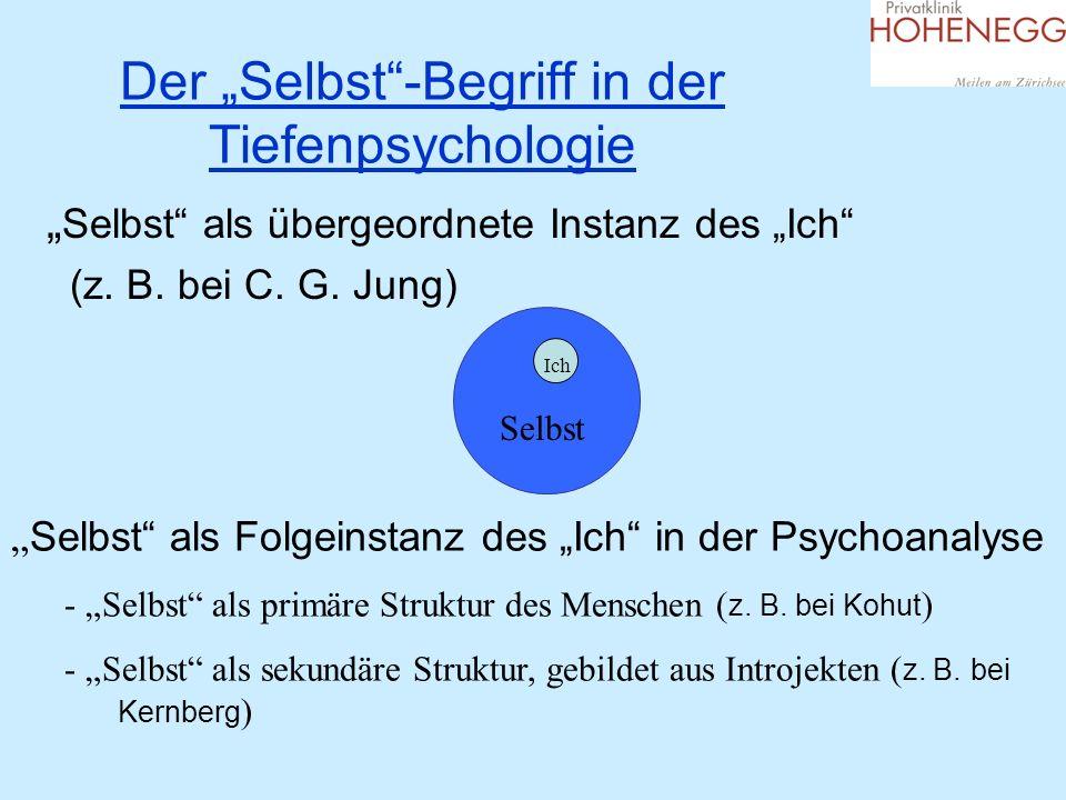 Der Selbst-Begriff in der Tiefenpsychologie Selbst als übergeordnete Instanz des Ich (z. B. bei C. G. Jung) Selbst Ich Selbst als Folgeinstanz des Ich