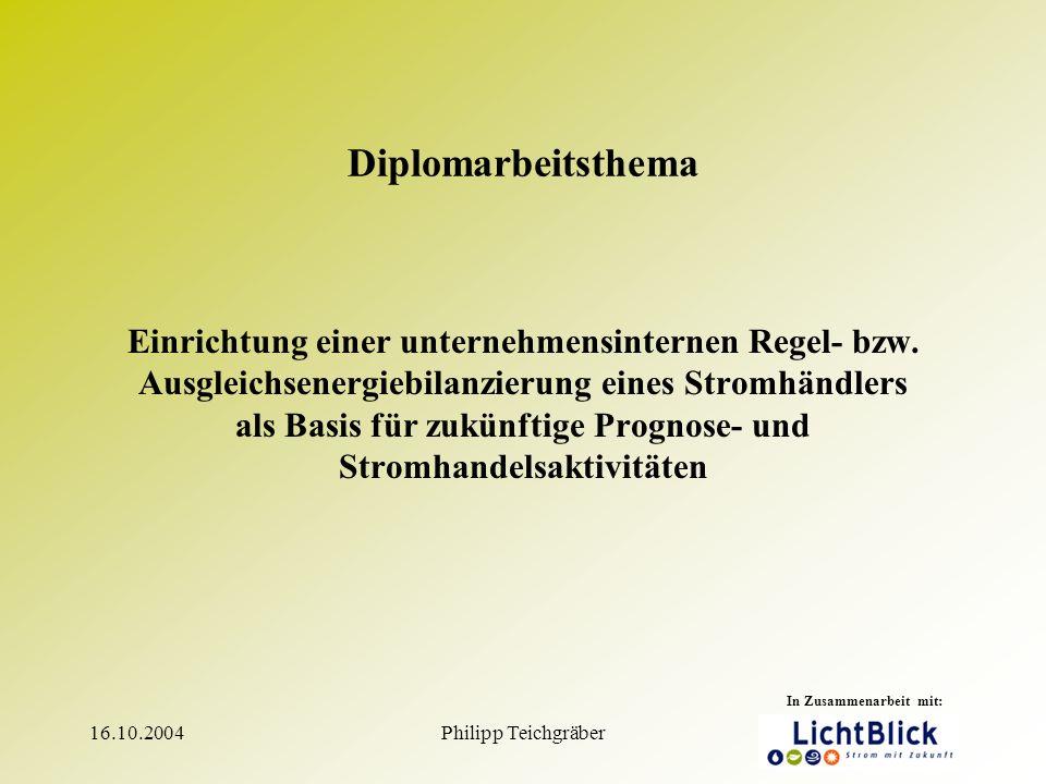 16.10.2004Philipp Teichgräber1 Diplomarbeitsthema Einrichtung einer unternehmensinternen Regel- bzw.