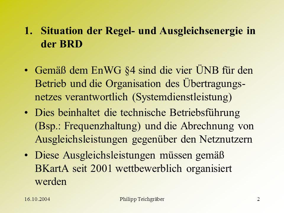 16.10.2004Philipp Teichgräber2 1.Situation der Regel- und Ausgleichsenergie in der BRD Gemäß dem EnWG §4 sind die vier ÜNB für den Betrieb und die Organisation des Übertragungs- netzes verantwortlich (Systemdienstleistung) Dies beinhaltet die technische Betriebsführung (Bsp.: Frequenzhaltung) und die Abrechnung von Ausgleichsleistungen gegenüber den Netznutzern Diese Ausgleichsleistungen müssen gemäß BKartA seit 2001 wettbewerblich organisiert werden