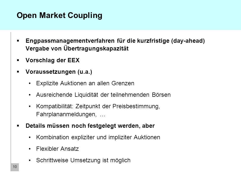 10 Open Market Coupling Engpassmanagementverfahren für die kurzfristige (day-ahead) Vergabe von Übertragungskapazität Vorschlag der EEX Voraussetzunge