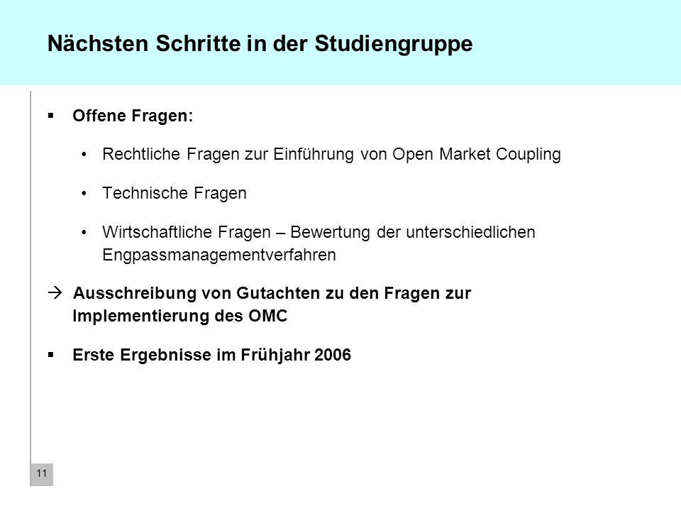 11 Nächsten Schritte in der Studiengruppe Offene Fragen: Rechtliche Fragen zur Einführung von Open Market Coupling Technische Fragen Wirtschaftliche F