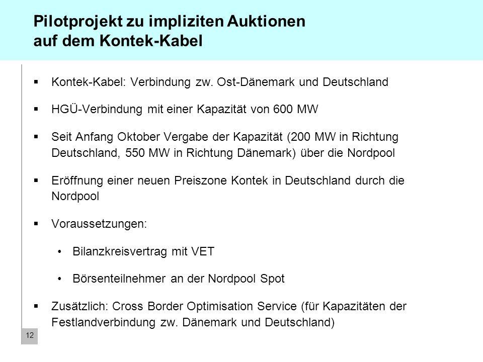 12 Pilotprojekt zu impliziten Auktionen auf dem Kontek-Kabel Kontek-Kabel: Verbindung zw. Ost-Dänemark und Deutschland HGÜ-Verbindung mit einer Kapazi