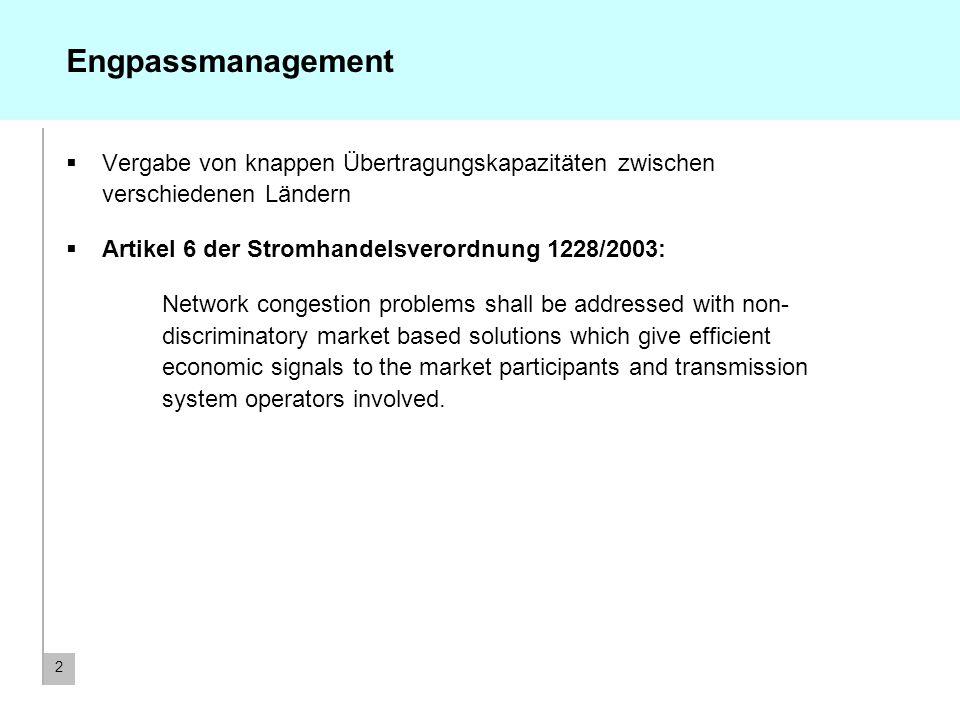 2 Engpassmanagement Vergabe von knappen Übertragungskapazitäten zwischen verschiedenen Ländern Artikel 6 der Stromhandelsverordnung 1228/2003: Network