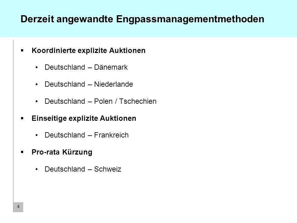 4 Derzeit angewandte Engpassmanagementmethoden Koordinierte explizite Auktionen Deutschland – Dänemark Deutschland – Niederlande Deutschland – Polen /