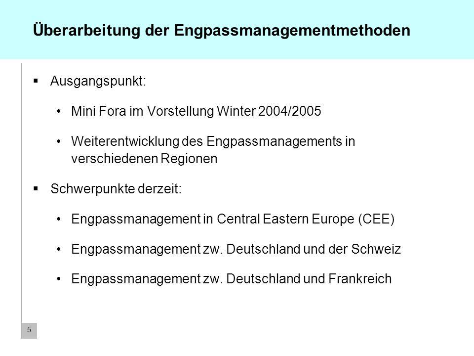 5 Überarbeitung der Engpassmanagementmethoden Ausgangspunkt: Mini Fora im Vorstellung Winter 2004/2005 Weiterentwicklung des Engpassmanagements in ver