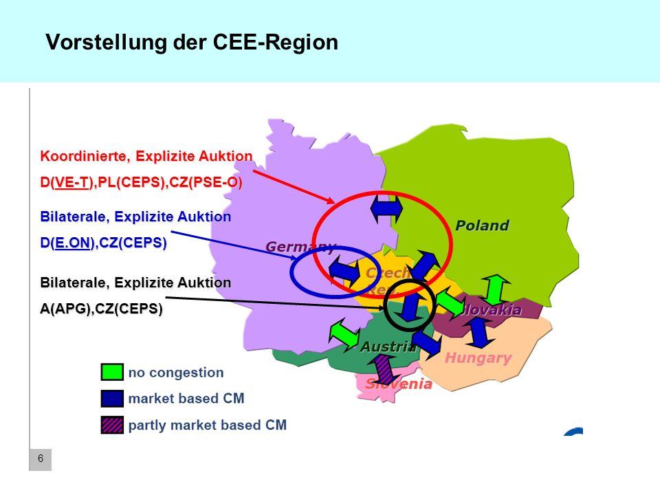6 Vorstellung der CEE-Region Koordinierte, Explizite Auktion D(VE-T),PL(CEPS),CZ(PSE-O) Bilaterale, Explizite Auktion D(E.ON),CZ(CEPS) Bilaterale, Exp