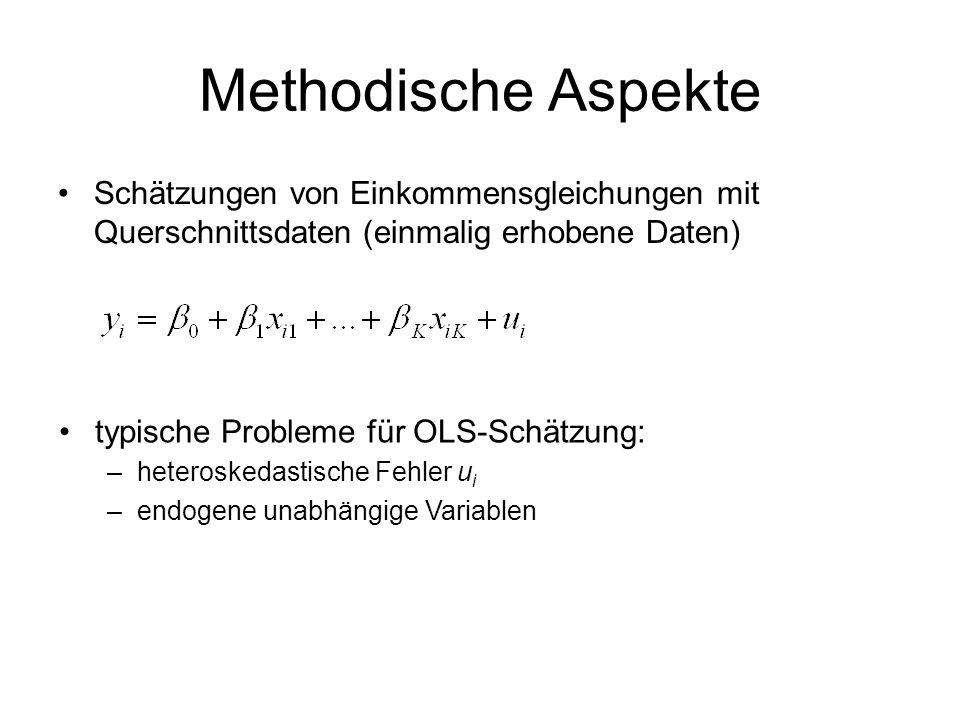 Methodische Aspekte Schätzungen von Einkommensgleichungen mit Querschnittsdaten (einmalig erhobene Daten) typische Probleme für OLS-Schätzung: –hetero