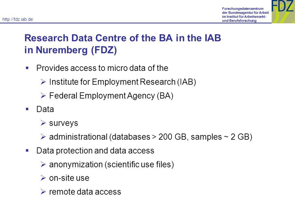 http://fdz.iab.de Forschungsdatenzentrum der Bundesagentur für Arbeit im Institut für Arbeitsmarkt- und Berufsforschung.
