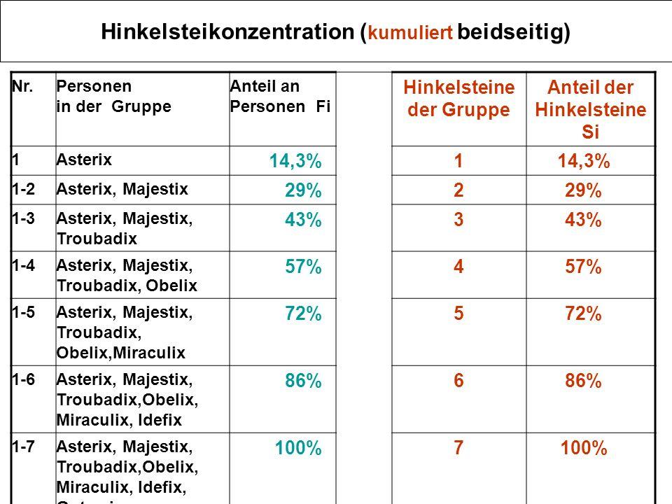 Hinkelsteikonzentration ( kumuliert beidseitig) Nr.Personen in der Gruppe Anteil an Personen Fi Hinkelsteine der Gruppe Anteil der Hinkelsteine Si 1As