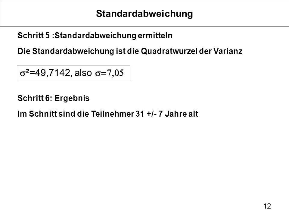 12 Standardabweichung Schritt 5 :Standardabweichung ermitteln Die Standardabweichung ist die Quadratwurzel der Varianz Schritt 6: Ergebnis Im Schnitt
