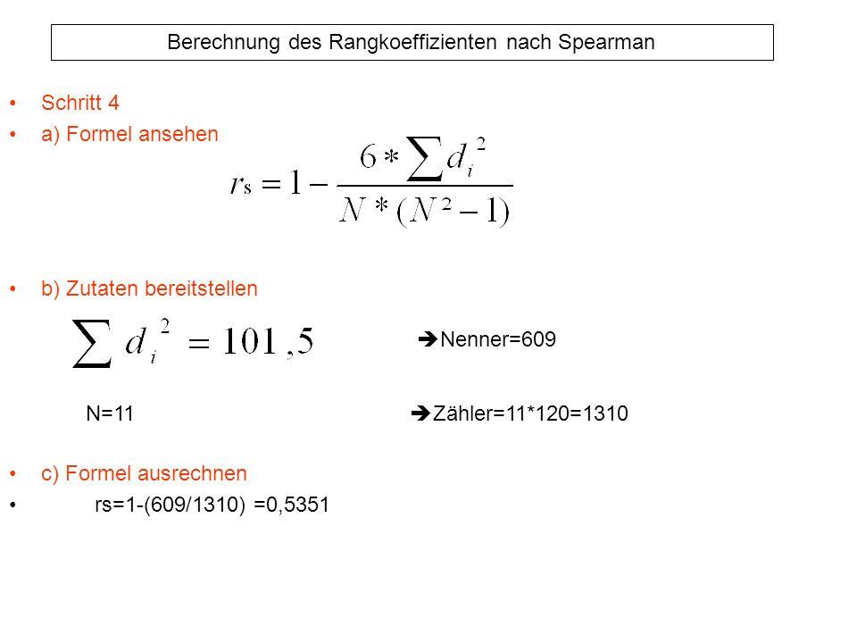 Berechnung des Rangkoeffizienten nach Spearman Schritt 4 a) Formel ansehen b) Zutaten bereitstellen c) Formel ausrechnen rs=1-(609/1310) =0,5351 Nenne