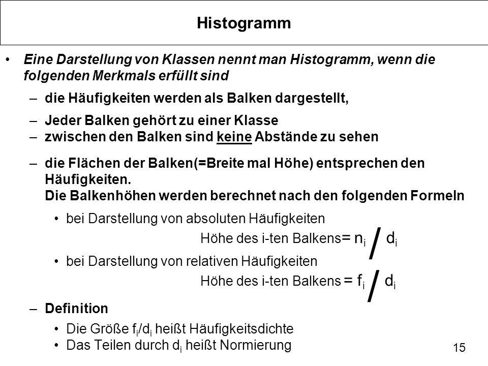 15 Histogramm Eine Darstellung von Klassen nennt man Histogramm, wenn die folgenden Merkmals erfüllt sind –die Häufigkeiten werden als Balken dargeste