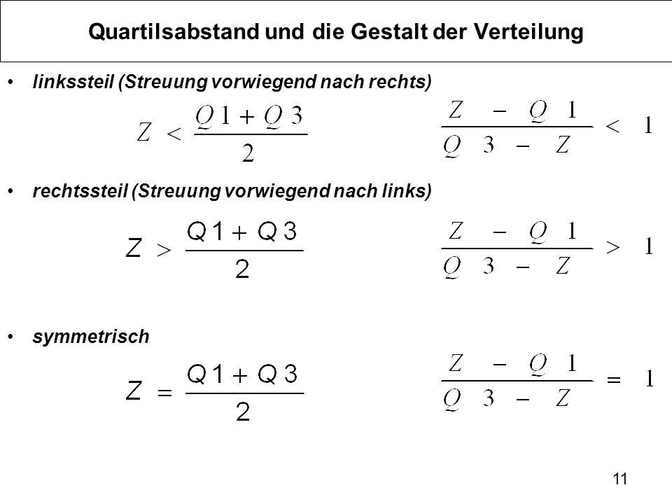 11 Quartilsabstand und die Gestalt der Verteilung linkssteil (Streuung vorwiegend nach rechts) rechtssteil (Streuung vorwiegend nach links) symmetrisch