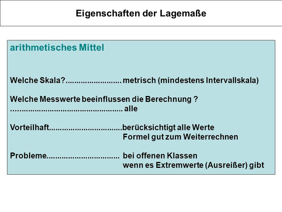 Eigenschaften der Lagemaße arithmetisches Mittel Welche Skala?..........................metrisch (mindestens Intervallskala) Welche Messwerte beeinflu