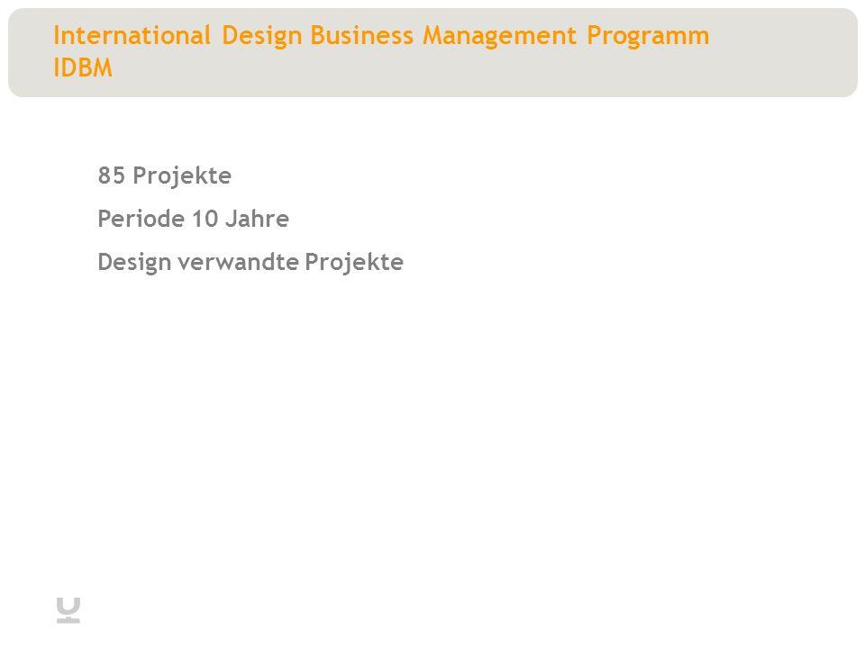 International Design Business Management Programm IDBM 85 Projekte Periode 10 Jahre Design verwandte Projekte