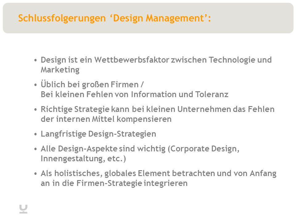 Schlussfolgerungen Design Management: Design ist ein Wettbewerbsfaktor zwischen Technologie und Marketing Üblich bei großen Firmen / Bei kleinen Fehlen von Information und Toleranz Richtige Strategie kann bei kleinen Unternehmen das Fehlen der internen Mittel kompensieren Langfristige Design-Strategien Alle Design-Aspekte sind wichtig (Corporate Design, Innengestaltung, etc.) Als holistisches, globales Element betrachten und von Anfang an in die Firmen-Strategie integrieren