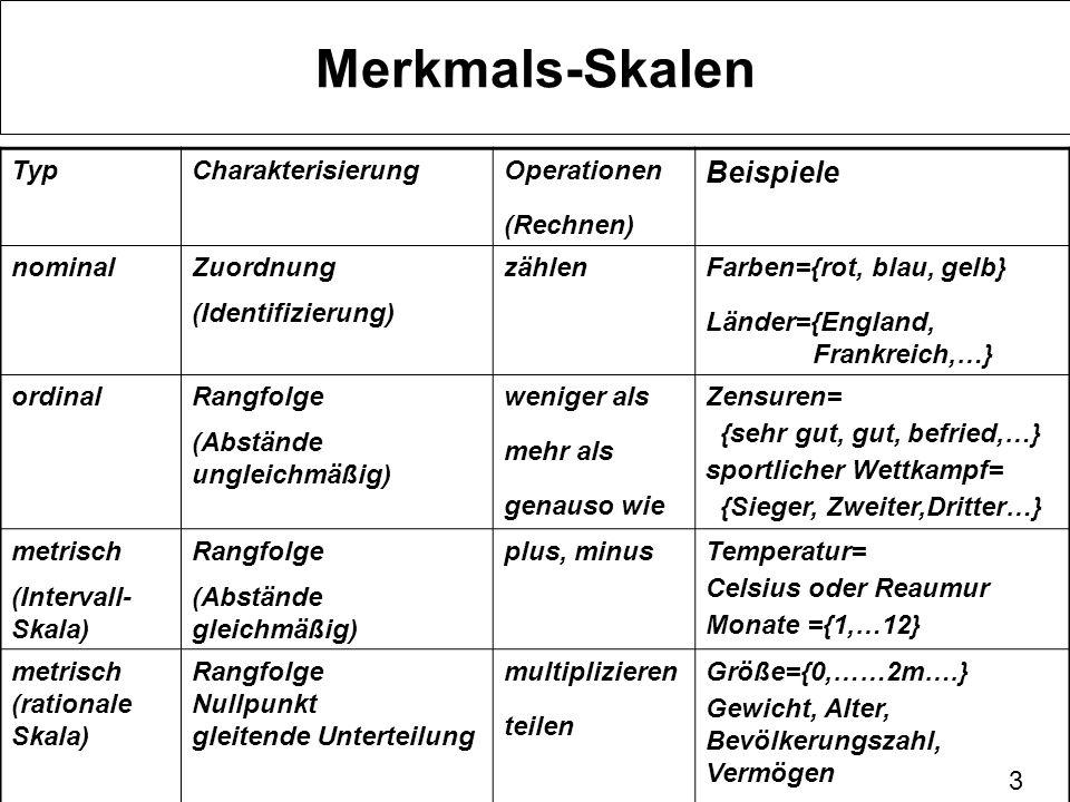 4 Merkmalsskalen nominal Bei einer Nominalskala teilt man die Merkmalsträger in große Gruppen ein.