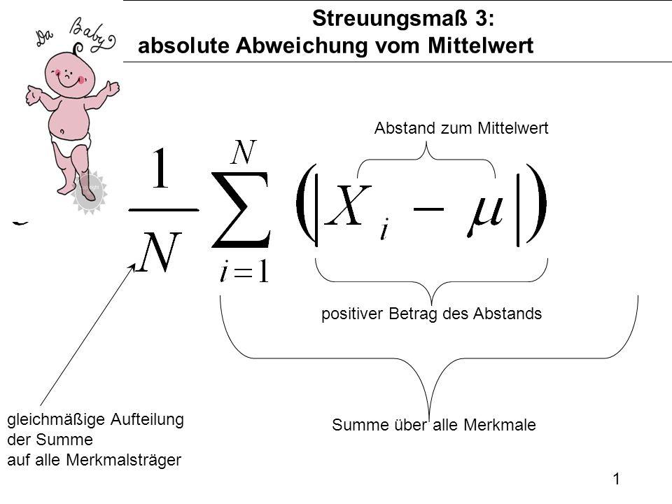 1 Streuungsmaß 3: absolute Abweichung vom Mittelwert Abstand zum Mittelwert positiver Betrag des Abstands Summe über alle Merkmale gleichmäßige Auftei