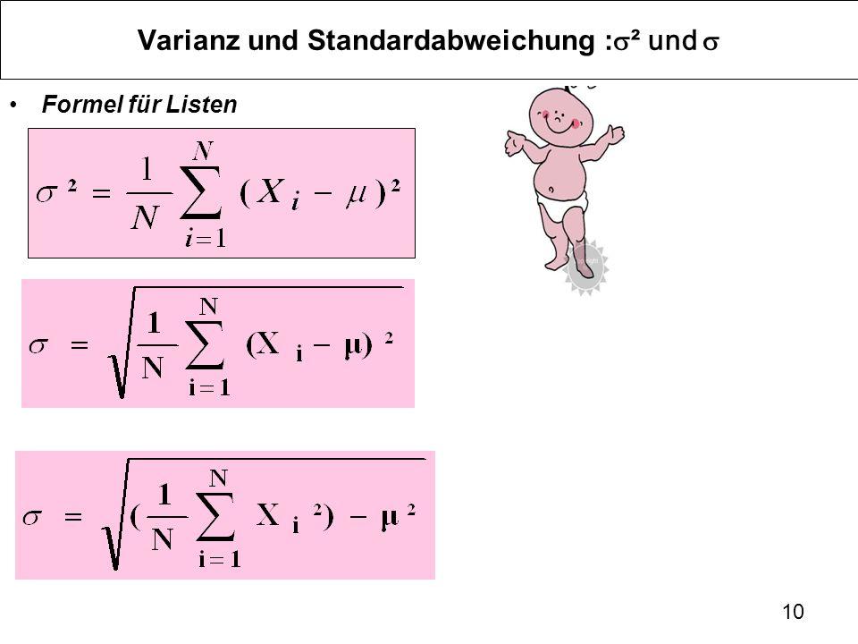 10 Varianz und Standardabweichung : ² und Formel für Listen