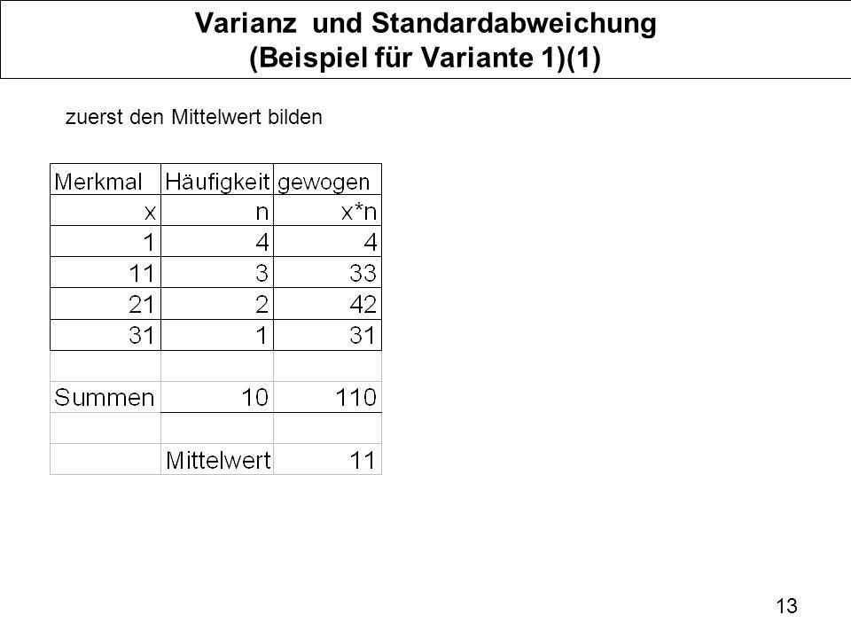 13 Varianz und Standardabweichung (Beispiel für Variante 1)(1) zuerst den Mittelwert bilden