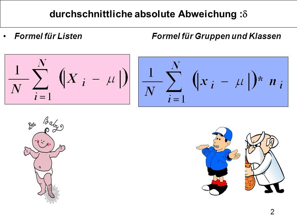 2 durchschnittliche absolute Abweichung : Formel für ListenFormel für Gruppen und Klassen
