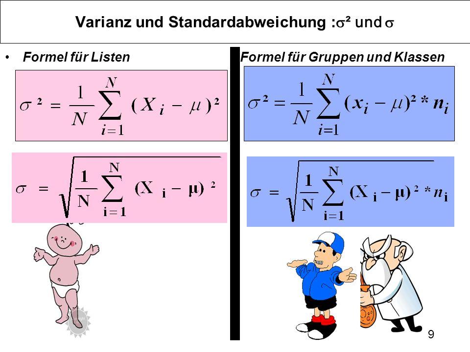 9 Varianz und Standardabweichung : ² und Formel für ListenFormel für Gruppen und Klassen
