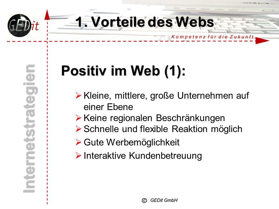Wichtig ist: Internetstrategien 1. Vorteile des Webs nutzen 4. Erkennbar sein und gefunden werden 3. Nutzer binden 2. Nutzen bieten