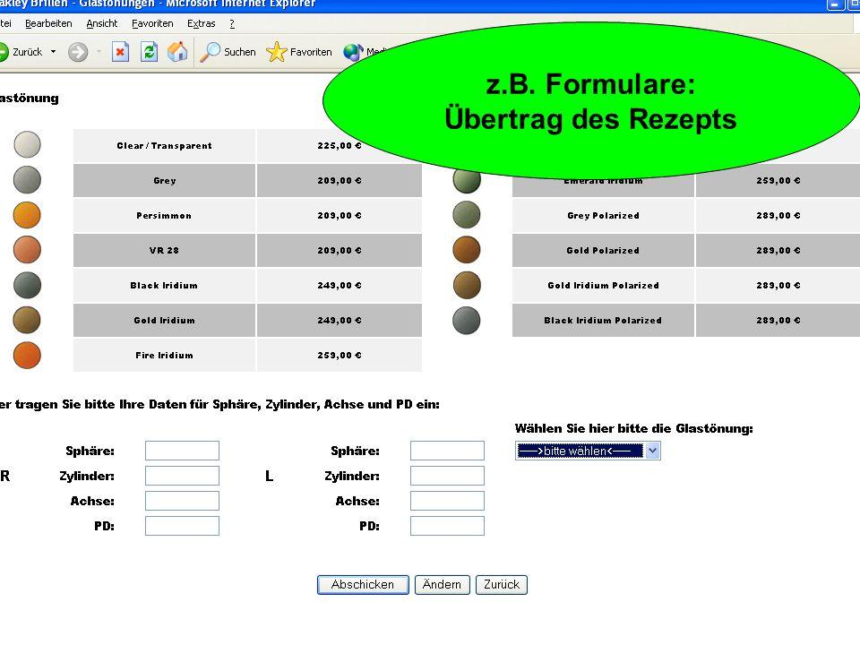z.B. Formulare: Buchung online