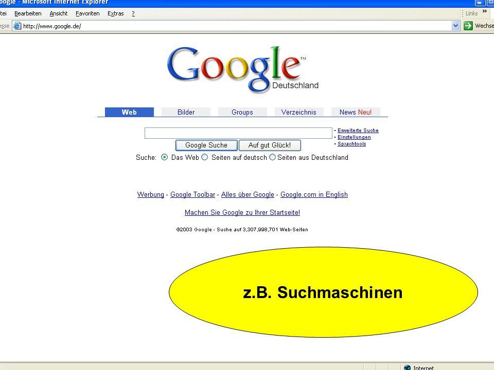 Gefunden werden Suchmaschinen: Roboterbasierte Suchmaschinen Suchverzeichnisse Meta-Suchmaschinen (min.6Kriterien) (Agentenbasierte Suchmaschinen) Int