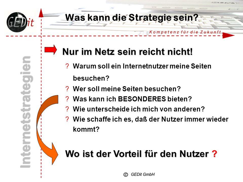 Was kann die Strategie sein? Internetstrategien Was will mein Unternehmen im Netz erreichen: z.B. ?Neue Kunden gewinnen ?Bestehende Kunden halten ?Bin