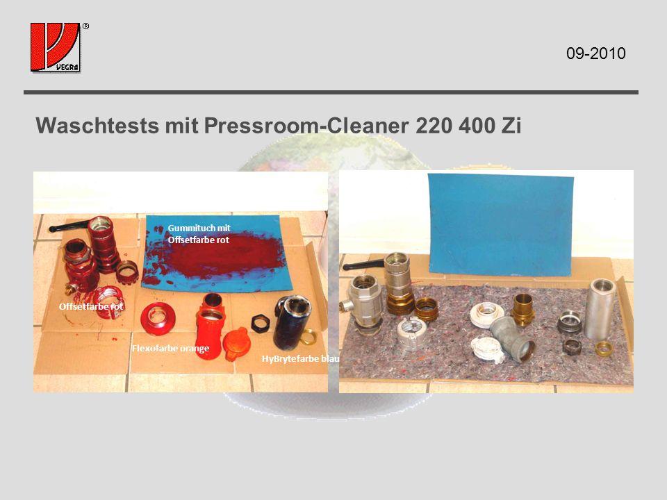 Waschtests mit Pressroom-Cleaner 220 400 Zi Gummituch mit Offsetfarbe rot HyBrytefarbe blau Flexofarbe orange Offsetfarbe rot 09-2010