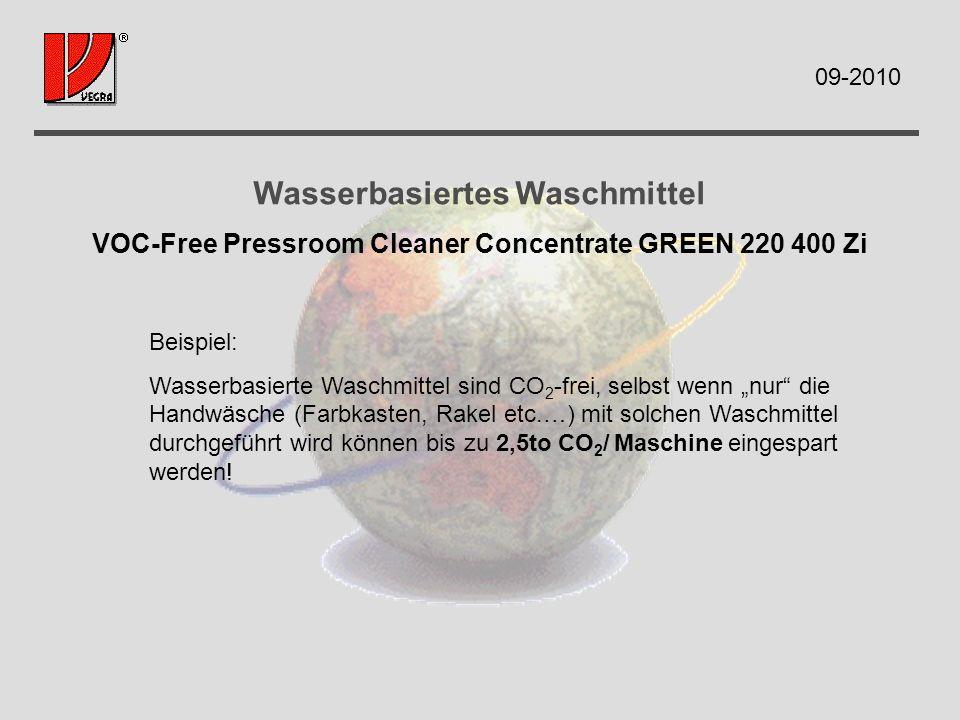 Wasserbasiertes Waschmittel VOC-Free Pressroom Cleaner Concentrate GREEN 220 400 Zi Beispiel: Wasserbasierte Waschmittel sind CO 2 -frei, selbst wenn nur die Handwäsche (Farbkasten, Rakel etc.…) mit solchen Waschmittel durchgeführt wird können bis zu 2,5to CO 2 / Maschine eingespart werden.
