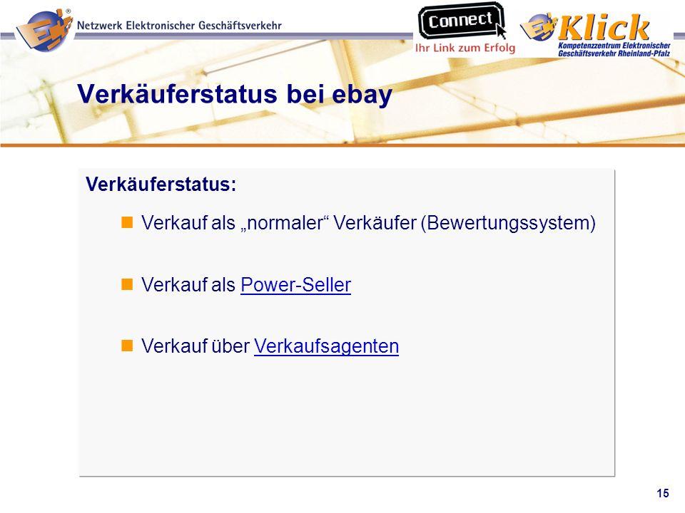 15 Verkaufen über eBay Verkäuferstatus bei ebay Verkäuferstatus: Verkauf als normaler Verkäufer (Bewertungssystem) Verkauf als Power-SellerPower-Selle
