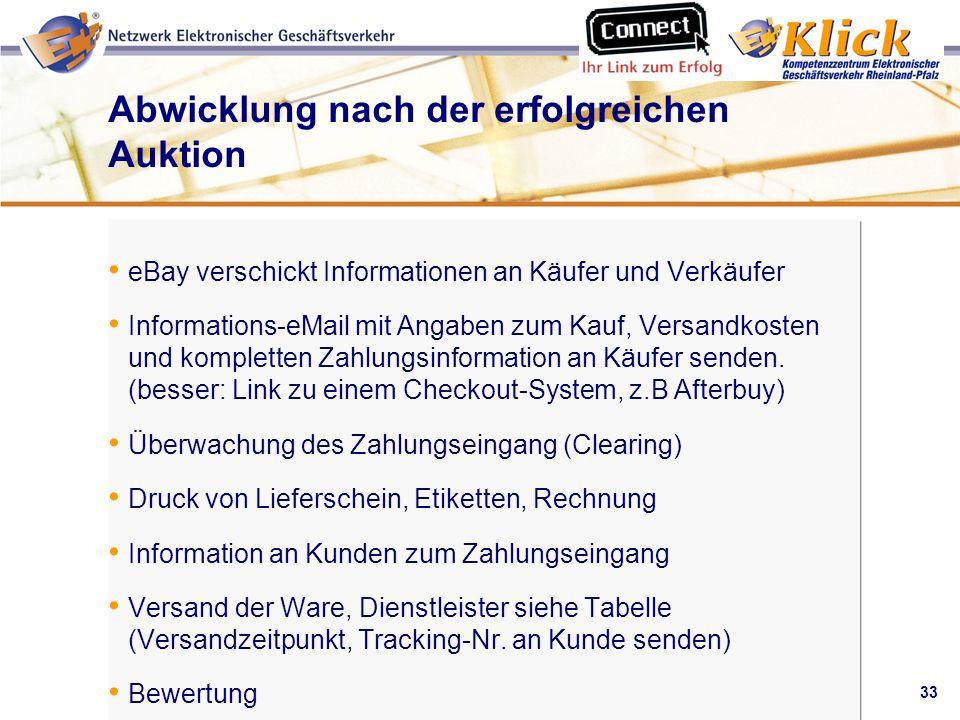 33 Verkaufen über eBay Abwicklung nach der erfolgreichen Auktion eBay verschickt Informationen an Käufer und Verkäufer Informations-eMail mit Angaben