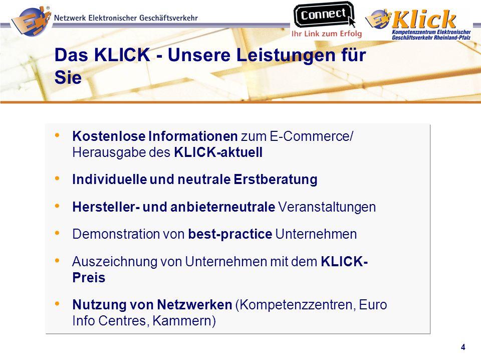 4 Verkaufen über eBay Das KLICK - Unsere Leistungen für Sie Kostenlose Informationen zum E-Commerce/ Herausgabe des KLICK-aktuell Individuelle und neu