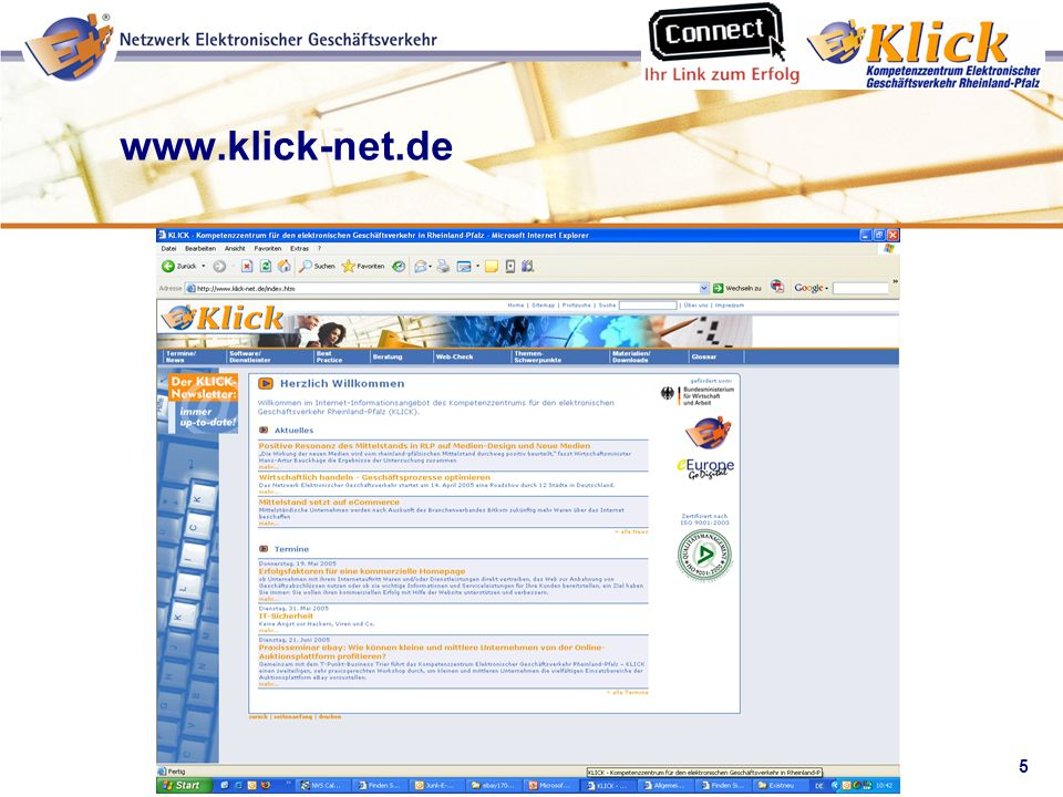 6 Verkaufen über eBay Euro Info Centre, Trier Handwerkskammer Trier Industrie- und Handelskammer Trier Lehrstuhl für Fertigungstechnik und Betriebsorganisation an der Universität Kaiserslautern IHK ZETIS GmbH Träger des KLICK
