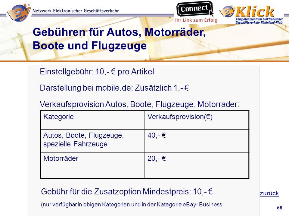 58 Verkaufen über eBay zurück Einstellgebühr: 10,- pro Artikel Darstellung bei mobile.de: Zusätzlich 1,- Verkaufsprovision Autos, Boote, Flugzeuge, Mo