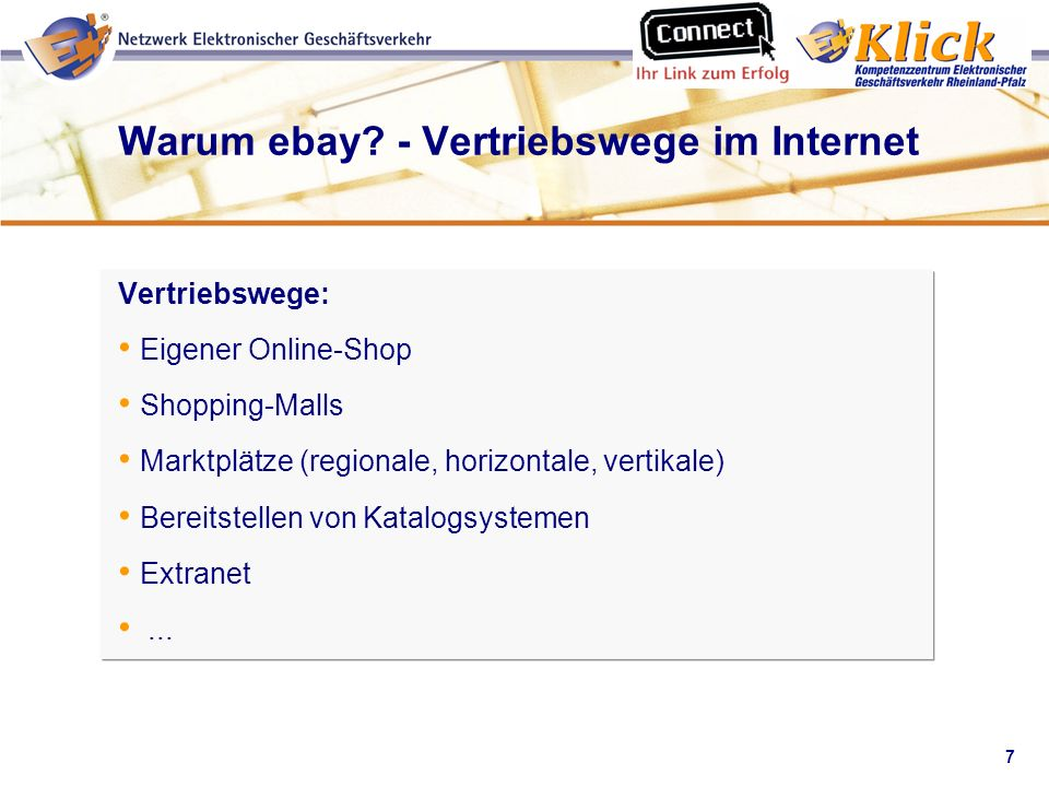7 Verkaufen über eBay Warum ebay? - Vertriebswege im Internet Vertriebswege: Eigener Online-Shop Shopping-Malls Marktplätze (regionale, horizontale, v