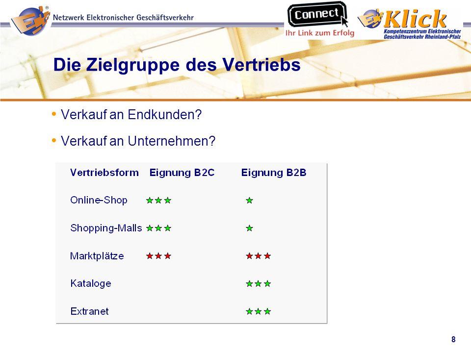 8 Verkaufen über eBay Die Zielgruppe des Vertriebs Verkauf an Endkunden? Verkauf an Unternehmen?