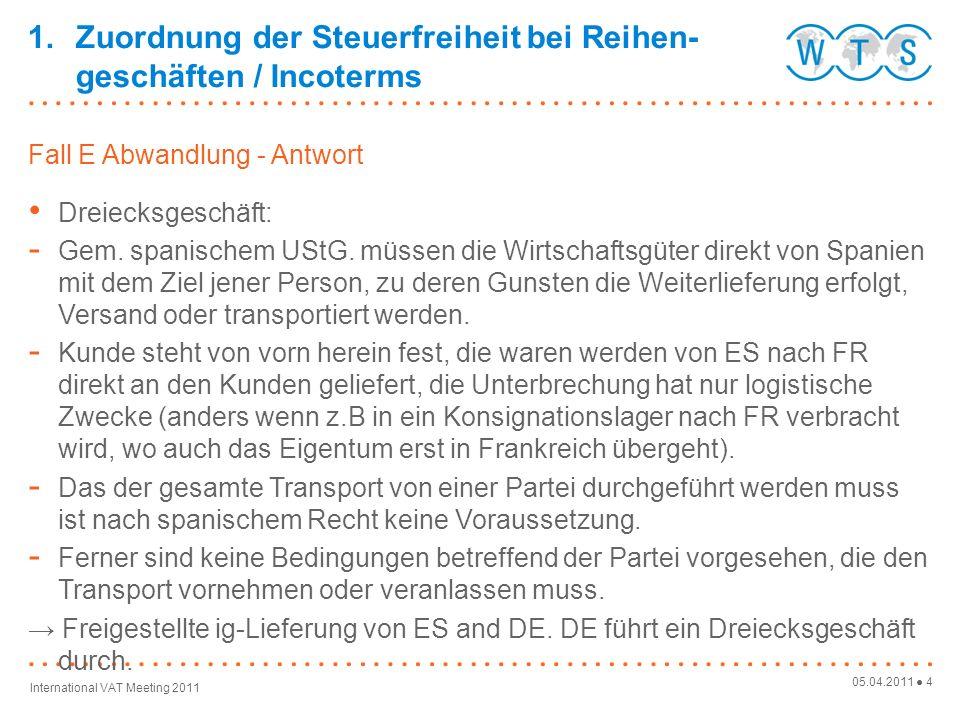 05.04.2011 25 International VAT Meeting 2011 Umsatzsteuer-Identifikationsnummer Identität des in der EU ansässigen Leistungsempfängers muss vor Aus- führung der Leistung geprüft werden: https://aeat.es/viesdist.html oder https://aeat.es/viesdist.html http://ec.europa.eu/taxation_customs/vies/vieshome.do Hinweis: Unternehmer im Drittland: Es muss nachgewiesen werden können, dass die Ware Spanien mit Ziel zu einem Drittland verlassen hat: Beweismittel z.B.