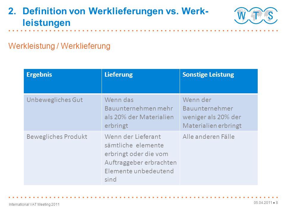 05.04.2011 8 International VAT Meeting 2011 Werkleistung / Werklieferung 2.Definition von Werklieferungen vs.