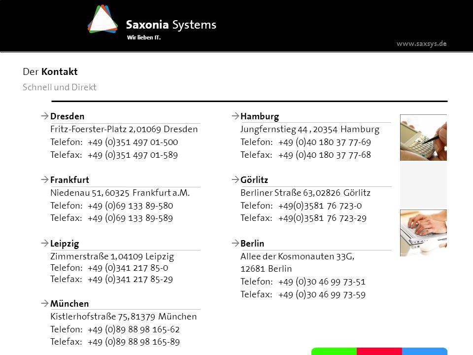 www.saxsys.de Saxonia Systems Wir lieben IT. Der Kontakt Schnell und Direkt Dresden Fritz-Foerster-Platz 2, 01069 Dresden Telefon: +49 (0)351 497 01-5