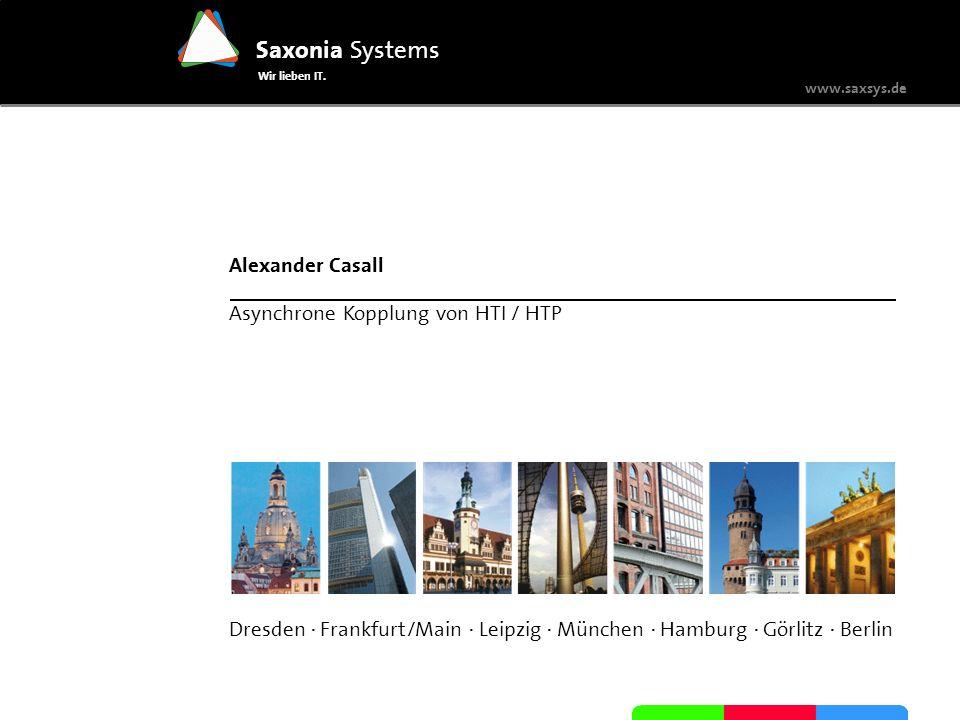 www.saxsys.de Saxonia Systems Wir lieben IT. Dresden · Frankfurt/Main · Leipzig · München · Hamburg · Görlitz · Berlin Alexander Casall Asynchrone Kop