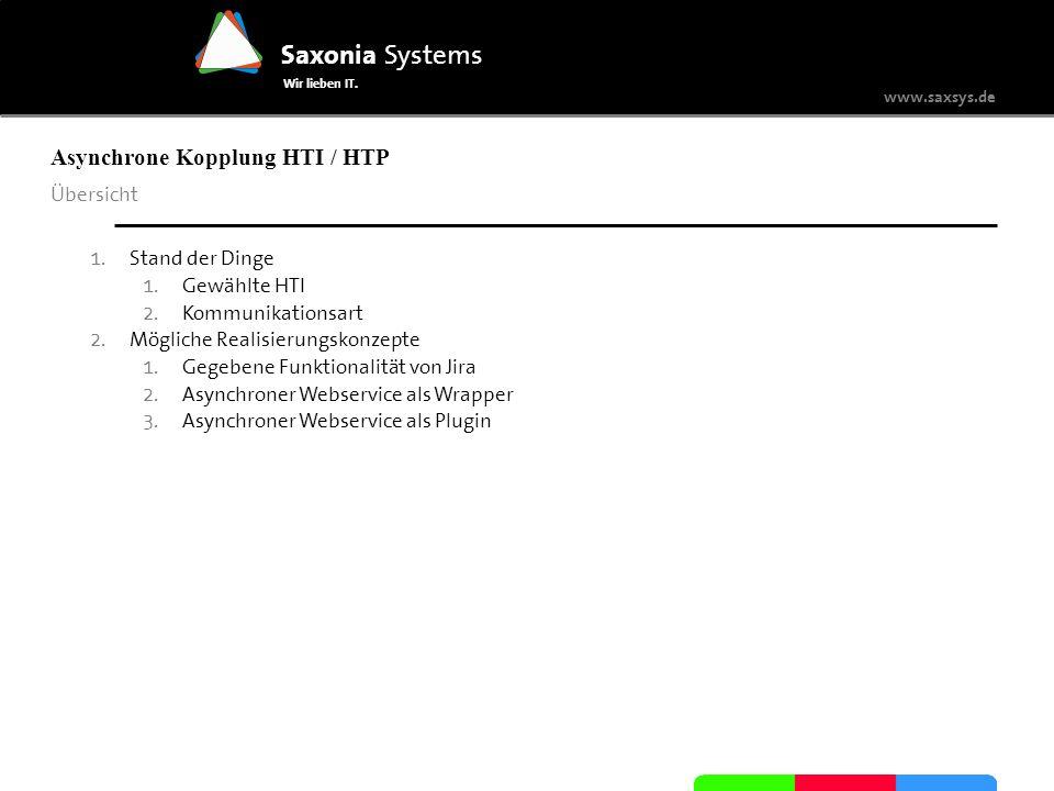 www.saxsys.de Saxonia Systems Wir lieben IT. Übersicht 1. Stand der Dinge 1. Gewählte HTI 2. Kommunikationsart 2. Mögliche Realisierungskonzepte 1. Ge