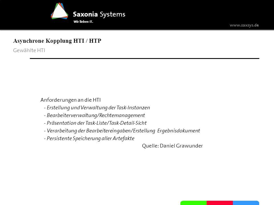 www.saxsys.de Saxonia Systems Wir lieben IT. Asynchrone Kopplung HTI / HTP Gewählte HTI Anforderungen an die HTI - Erstellung und Verwaltung der Task-