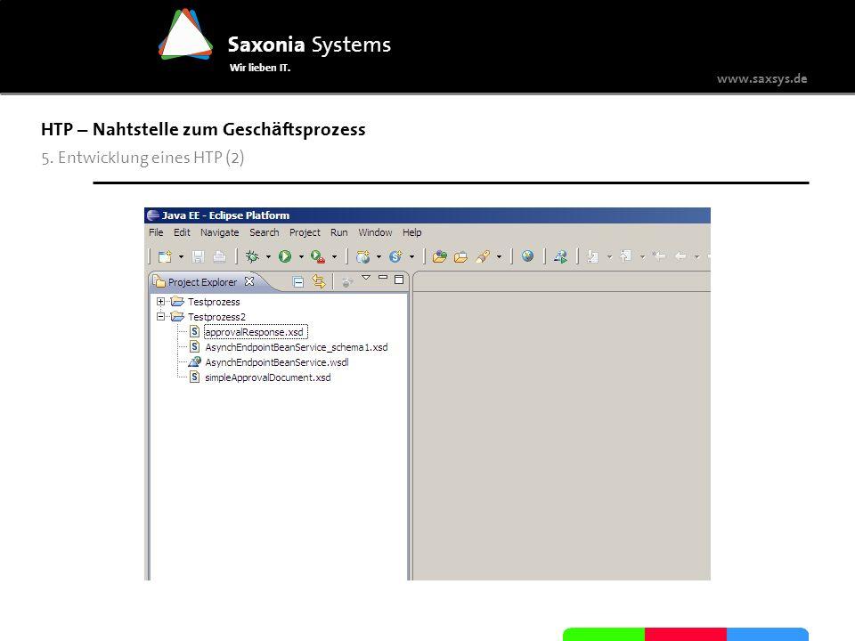 www.saxsys.de Saxonia Systems Wir lieben IT. HTP – Nahtstelle zum Gesch ä ftsprozess 5. Entwicklung eines HTP (2)