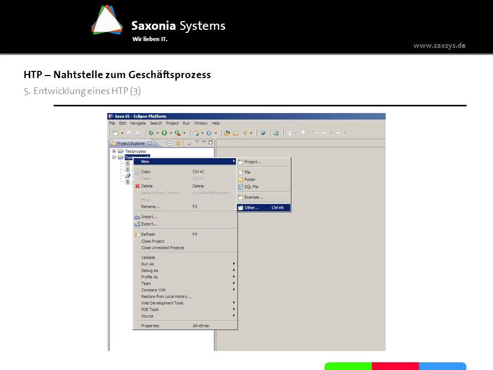 www.saxsys.de Saxonia Systems Wir lieben IT. HTP – Nahtstelle zum Gesch ä ftsprozess 5. Entwicklung eines HTP (3)