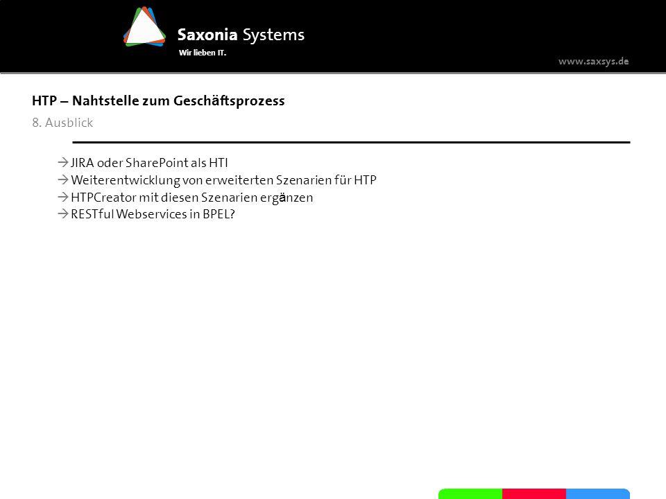 www.saxsys.de Saxonia Systems Wir lieben IT. HTP – Nahtstelle zum Gesch ä ftsprozess 8. Ausblick JIRA oder SharePoint als HTI Weiterentwicklung von er