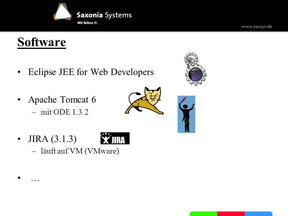 Saxonia Systems Wir lieben IT. www.saxsys.de Software Eclipse JEE for Web Developers Apache Tomcat 6 –mit ODE 1.3.2 JIRA (3.1.3) –läuft auf VM (VMware